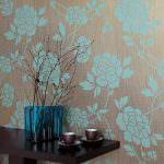 turkuaz desenli duvar kağıt