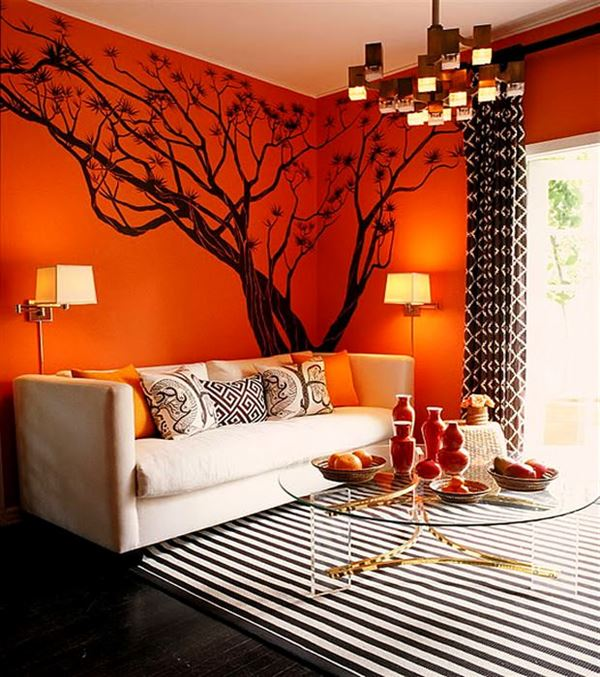 Turuncu Renkle Ev Renk Dekorasyonları turuncu renkle ev renk dekorasyonları - turuncu boyali oda resmi - Turuncu Renkle Ev Renk Dekorasyonları