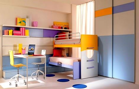 turuncu-mavi-cocuk-odasi-mobilyasi