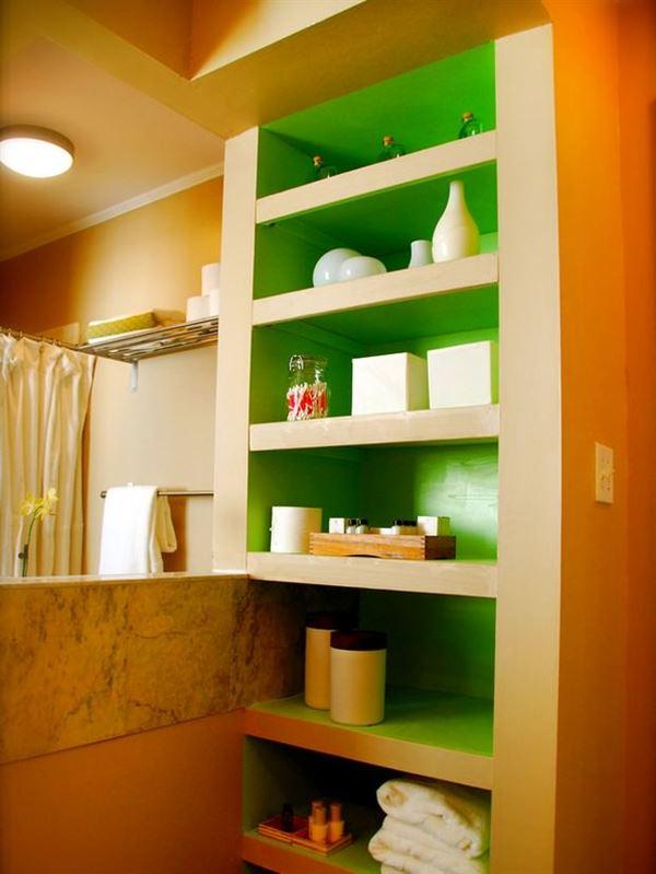 banyo depolama alanları dekorasyon stilleri - turuncu rafli banyo - Banyo Depolama Alanları Dekorasyon Stilleri