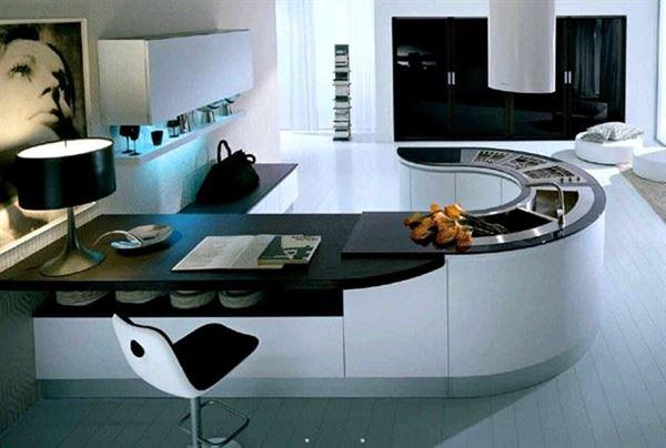 yuvarlak ada mutfak beyaz