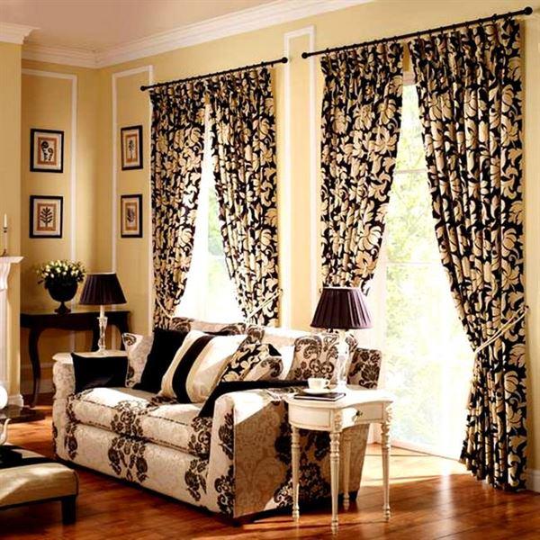 desenli dekorasyonlu oturma odası
