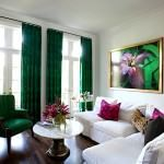 oturma odası dekorasyon fikirleri - zumrut yesili perde dekorasyonu 150x150 - Oturma Odası Dekorasyon Fikirleri